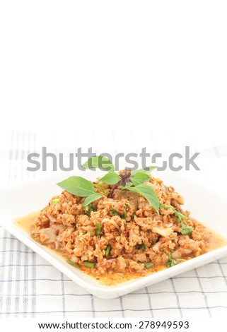 Thai Spicy minced meat salad - stock photo