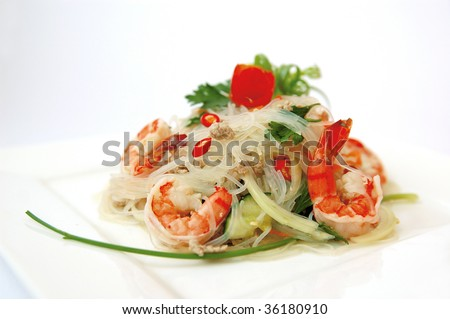 Thai spicy seafood salad. - stock photo
