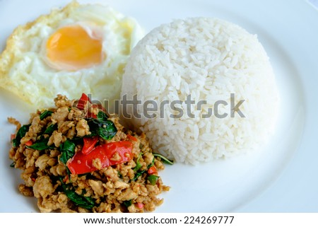 Thai stir-fried chicken and basil served with rice and fried egg - stock photo