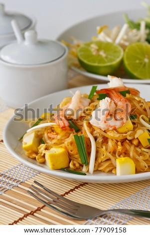 Thai stir-fried rice noodles (Pad Thai) - stock photo