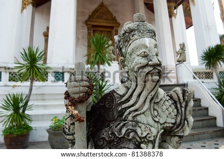 Thai stone soldier statue - stock photo