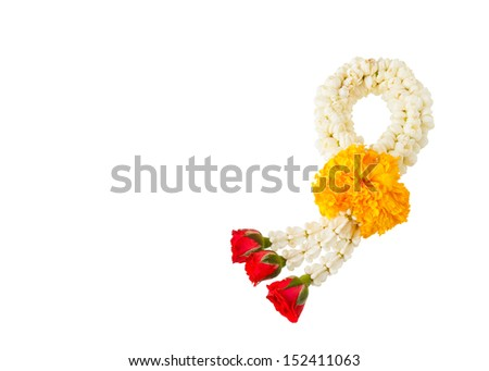 Thai style flower garland made of jasmine, marigold, crown flower and rose isolated on white background - stock photo