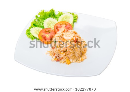 Thai style Fried rice with shrimps - stock photo