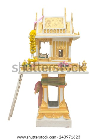 Thai style joss house isolated on white background - stock photo
