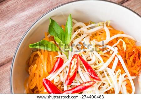 Thai style noodles, Pad-Thai,  Thai cuisine. - stock photo