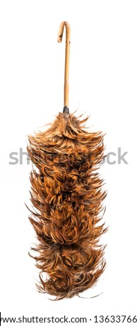 Thai style Whisk made from chicken hair use for removing dust isolate on white background - stock photo