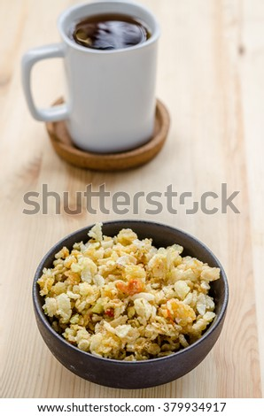 Thai sweet rice crispy, sneak in relax time - stock photo
