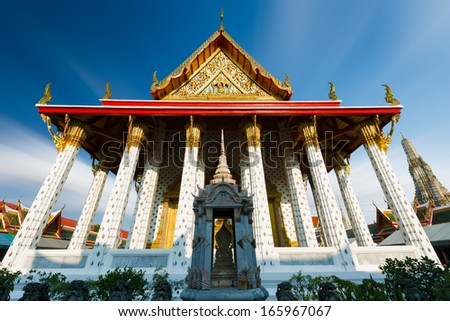 Thai temple at Wat Arun in Bangkok, Thailand.  - stock photo