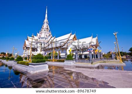 thai temple church and nice blue sky - stock photo