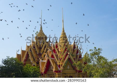 Thai temple, It is the supreme art of ancient Thailand - stock photo