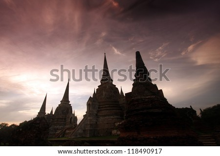 Thai Temple Under Sunset Sky, Srisanpetch - Ayutthaya - stock photo