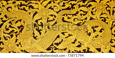 Thai Temple Wall painting - stock photo