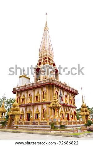 Thai temple, wat chaitharam or Wat Chalong Temple in Phuket, thailand. - stock photo