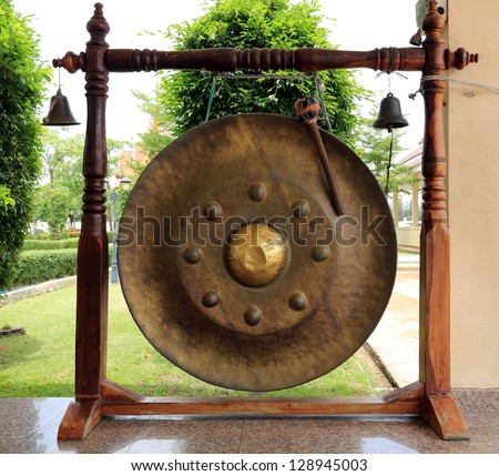 Thai traditional gong or tam-tam in Buddhist temple - stock photo