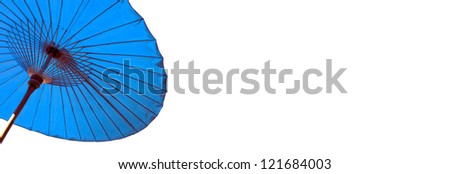 Thai traditional umbrella isolated on white background. Right space for your text. - stock photo