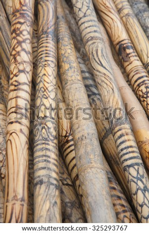Thai traditional wood cane background. - stock photo