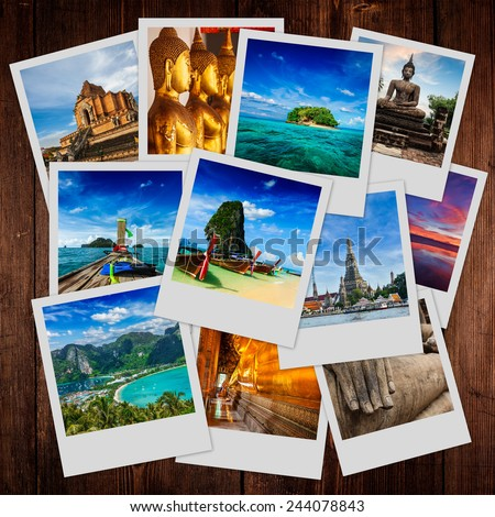 Thai travel tourism concept design - collage of Thailand images on wooden background - stock photo