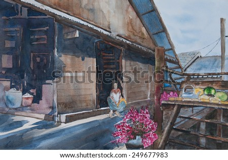 Thai vintage house : Original watercolor painting - stock photo