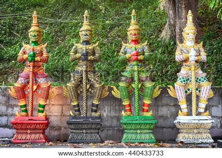 Thai Yaksa warrior guards statues - stock photo