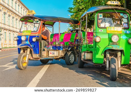 THAILAND, BANGKOK - NOVEMBER 8, 2014: Colorfull tuk tuk one of Bangkok's tourist attractions, Bangkok, Thailand - stock photo