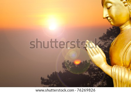 Thailand Buddha Statue in Twilight time. - stock photo