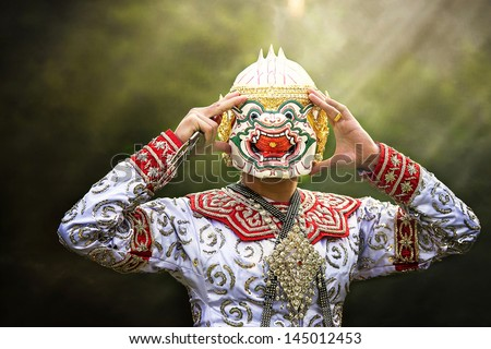 """Thailand Culture Dancing art in masked """"Khon"""" that high class of dance in Siam Bangkok Thailand.  - stock photo"""