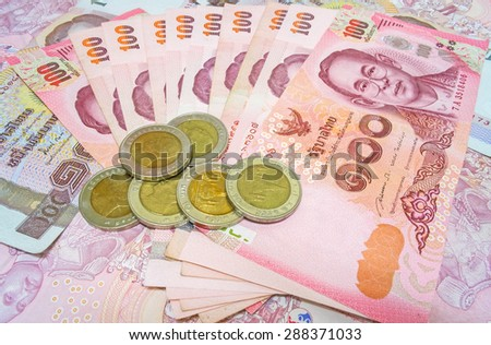 Thailand currency, Thai Baht : Coin and Banknote - stock photo