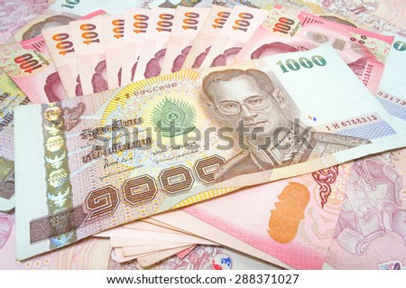 Thailand currency, Thai Baht : One hundred and One thousand Banknote - stock photo