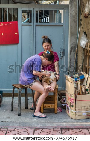 Thailand 2016 Feb 6,unidentitiled woman Hiar cut for her dog on side way ,China Town,Bangkok Thailand. - stock photo