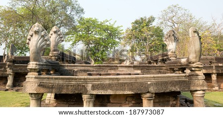 THAILAND - FEBRUARY 16:  The side of 7 Heads Naga Bridge on February 16, 2014 in Pimai Historical Park, The Northeast. - stock photo
