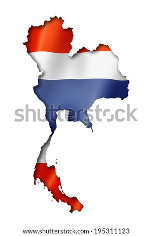 Thailand flag map, three dimensional render, isolated on white - stock photo