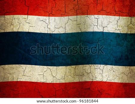 Thailand flag on a cracked grunge background - stock photo