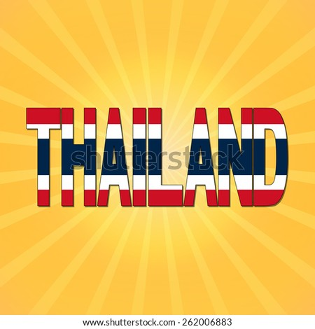 Thailand flag text with sunburst illustration - stock photo