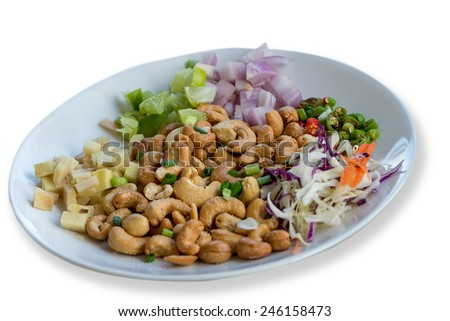 Thailand Food, Salted & Spicy Cashew Nuts. Image isolated on white background. with clipping path - stock photo
