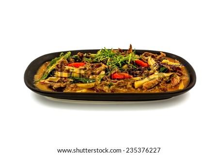 Thailand food spicy flavor Phad-Prik-Gaeng made form  mice  - stock photo