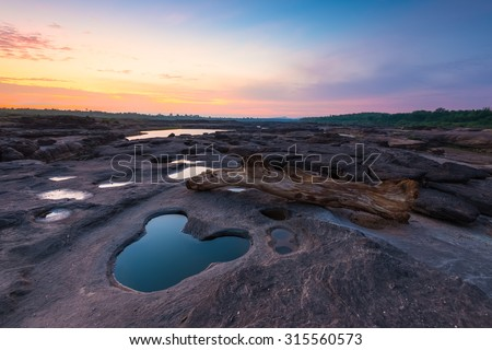 Thailand Grand Canyon view in morning and mickey mouse hole on foreground. - stock photo