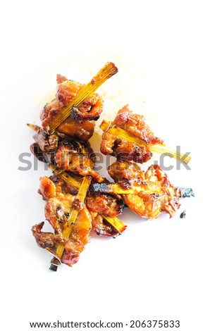 Thailand Grilled chicken , Grilled chicken and sticky rice of thailand , grilled little chicken , Thailand Grilled chicken white background - stock photo