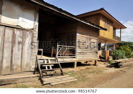 Thailand House Village Outdoor Local Country - stock photo