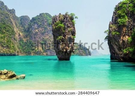 Thailand James Bond stone Island, Phang Nga - stock photo
