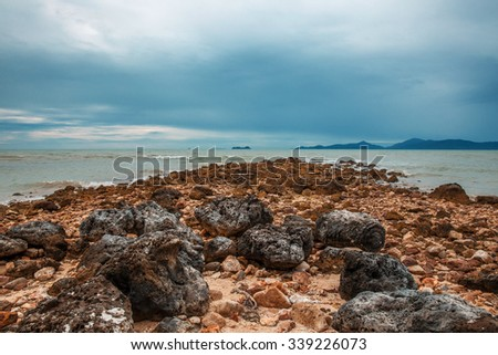 THAILAND, Jule - 12, 2014. Coral Beach on a cloudy day in Koh Samui - stock photo
