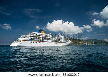 Thailand, Krabi Island - April 2 : Carnival Cruise Line, cruise ship Sails from Krabi island on April 2, 2014. - stock photo