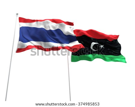 Thailand & Libya Flags are waving on the isolated white background - stock photo