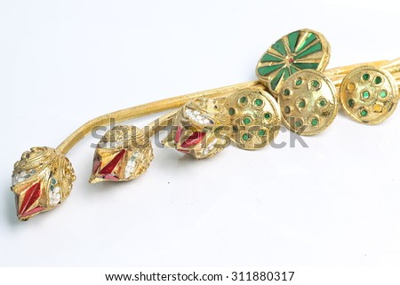Thailand lotus wood carved decoration on a white background. - stock photo