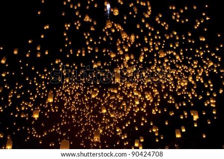 Thailand, Loy Krathong and Yi Peng Festival Chiang Mai Province at night - stock photo