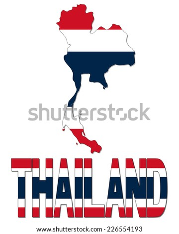 Thailand map flag and text illustration - stock photo