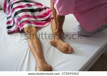 Thailand massage, muscle aches and joint pain. - stock photo