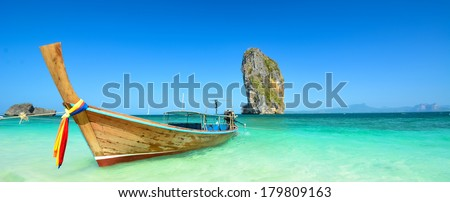 Thailand ocean landscape with boat - stock photo