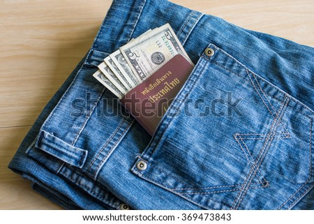 Stock Images similar to ID 36425185 - hip pocket on grey jeans ...