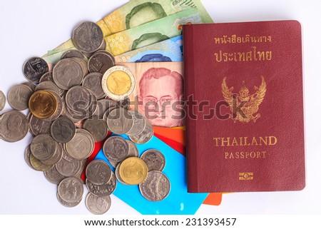 Thailand passport and thai baht ,credit card - stock photo