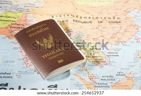 Thailand Passports on a map of the China,Vietnam,Singapore and Malaysia. - stock photo
